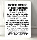 In this House We do Geek Movies Quotes A4 Metal sign plaque home decor