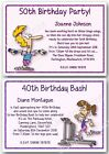 21st 30th 40th 50th 60th 70th Personalised Birthday Invitations weights fitness