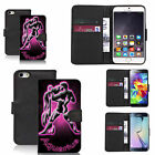 faux leather wallet case for many Mobile phones - pink aquarius