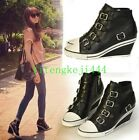 womens buckles Leather sneakers causal ankle boot wedge height increasing shoes