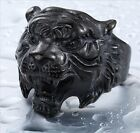 Mens Black Tiger Ring  Biker Stainless Steel Tiger Head Jewelry Cool Men Ring