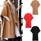Women Casual Loose Outwear Warm Hooded Coat Batwing Sleeve Jacket Wool Overcoat