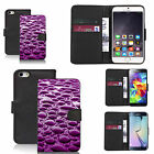 faux leather wallet case for many Mobile phones - purple rain water droplet