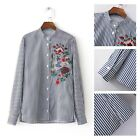 Women Cotton Long Sleeve Striped Flower Bird Embroidery Casual Blouse Shirt Tops