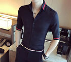 New Men's Trendy Half Sleeve Slim Fit Comfy Button Down Casual Work Shirt Top