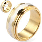Fashion Mens Boy Silver Scrub Gold Plated Stainless Steel Ring Size 17-21