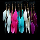 Women Girl Charm Jewelry Handmade Hook Drop Dangle Goose Feather Earrings