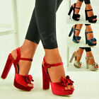 New Womens Bow Platform Sandals Ladies Block Heel Ankle Strap Shoes Size Uk 3-8