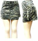 David collection ladies Sexy Army camo Camouflage Denim jeans CARGO Mini skirt