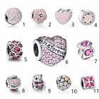 Jewelry Pink European charm Silver bead For S925 Bracelet/Necklace Chain big US