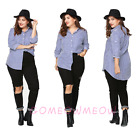 Womens Collar Long Sleeve Blue&White Stripes Plus Size Loose Blouse T-Shirt Tops