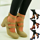 Womens Ladies Mary Jane Pumps Mid Block Heel Ankle Strap Sandal Shoes Size Uk