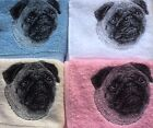 Embroidered Pug dog design face flannel/cloth,personalised with a name,inc P&P