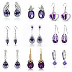 Purple Heart Leaf Teardrop Hoops Crystal Stud Drop Dangle Party Bridal Earrings