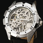 WINNER New Steampunk Skeleton Mechanical Watch Men Women Fashion Leather Relogio