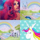 LIGHT SWITCH COVER VINYL STICKER RAINBOW RED HAIR GIRL UNICORN CLOUDS CASTLE