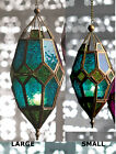 NEW MOROCCAN HANGING COLOURED GLASS LANTERN TEA LIGHT HOLDER HOME GARDEN VINTAGE