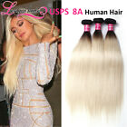 Brazilian Straight Human Hair 3 Bundles T1B/613 Ombre Hair Black to Blonde Color