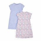 Girl's Floral and Striped Nightdresses - 2 Pack