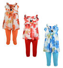 GIRLS FLORAL DRESS TOP & LEGGING SET 2 PIECE OUTFIT 3-10 YEARS #21 BNWT