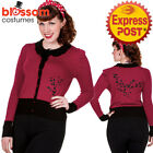 RKN19 Banned 50s Paloma Floral Sweater Burgundy Pin Up Cardigan Retro Rockabilly