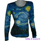 VINCENT VAN GOGH Starry Night Sky Moon LS TOP T SHIRT PAINTING  FINE ART PRINT *