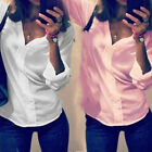 Deep V-neck Shirt Long Sleeve Autumn Spring Cotton Shirts Solid Blouse For Women