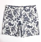 Club Monaco Men's Shorts Linen Blend Black Floral Print On White Baxter Fit 6""