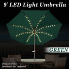 10' Solar Patio Umbrella 80LED Light Garden Tilt Crank Outdoor Sunshade