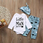 2017 Newborn Infant Baby Boy Girl Romper Tops+Pants+Hat Outfits Set Clothes