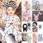 Newborn Infant Baby Girl Boys Headband+Bodysuit Romper Jumpsuit Outfits Clothes
