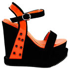 Punk Black Orange Stud Open Toe Strappy Wedge Platform High Heels Sandals