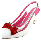 White Sliver Red Bow Slingback Buckle Bridal Evening Pointed Toe Pearl Heel Pump
