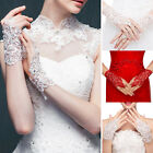 Lace Short Paragraph Fingerless Rhinestone Bridal Wedding Gloves Red/Milky White