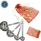 4Pcs Love Heart Stainless Steel Spoon Fork Set Wedding Favor Party Gifts w/Bags