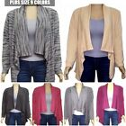 Womens Plus Size Warm Drape Front Open Cardigan HACCI Long Sleeve Made in USA