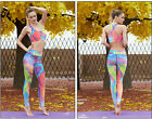 Pad Stripe Women Sport Yoga Set Gym Running Sportwear Suit Clothing Workout New