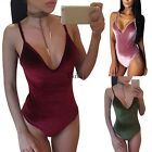 Women Sexy Strap V-Neck One Piece Slim Swimsuit Beach Summmer Swimwear TXWD