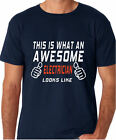 THIS IS WHAT AN AWESOME ELECTRICIAN LOOKS LIKE FUNNY DADS T SHIRT