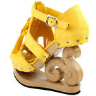 Yellow Gladiator Western Fringe Tassel Cut Out Stud Wooden Wedge Clogs Sandals
