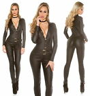 Women's Faux Leather Long Sleeve Jumpsuit Overall - XS/S/M/L/XL
