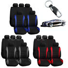 10 Part Car Seat Covers Red Set for Auto w Steering Wheel Belt Pad Head Rests