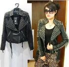 Women's Punk Spike Studded Shoulder faux Snake Leather Black Cropped Coat Jacket