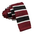 DQT Men's Knitted Polyester 2 Border Striped Square Cut End Tie