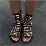 Mens Gold Rivets Sandals Korea Buckle Roma Gladiator Strap Leather Shoes Yh