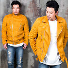 NewStylish mens fashion Zipper & belt accent suede mustard rider jacket
