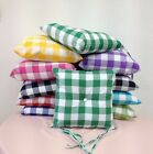 Seat/chair pad cushions with ties and buttons for garden or dining chairs
