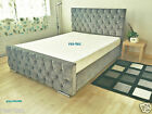 Grey Chenille Fabric Diamonds Upholstered Bed Frame Many Colours and Sizes