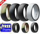 Ring Men Silicone Wedding Band Rubber 4 PACK Army Affordable Look Sports Sizable