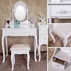 White Dressing Table Makeup Table & Stool Vanity Mirrored Wooden Girls Dressers